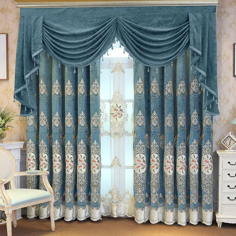 New European-style Chenille Embroidery Shade Curtains For Living Dining Room Bedroom.