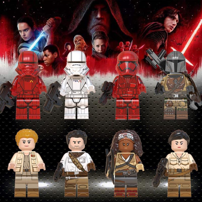 Ed Mandalorian Baby Yoda Rey Star Darth Vadar Sith Jet Trooper Jannah Star Wars Figures Building Blocks Children Toys WM6082