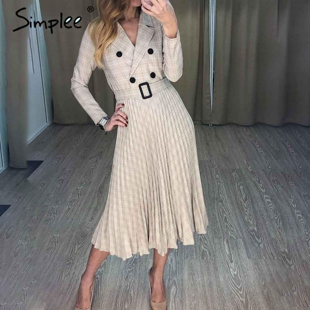 simplee vintage plissee gürtel plaid kleid frauen elegante büro damen  blazer kleider langarm weibliche herbst midi party kleid