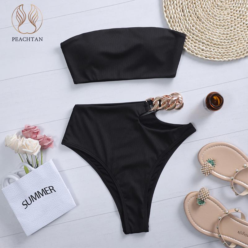 Peachtan Solid bikini 2021 High waist swimwear female Chain swimsuit women Bandeau 2 pieces set Sports bathing suit Ribbed new