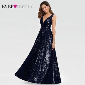 Image 4 - Женское вечернее платье с блестками Ever Pretty, розовое золотистое платье трапеция в стиле Саудовской Аравии, с V образным вырезом, для торжественных вечеринок, EP00825RG, лето 2019