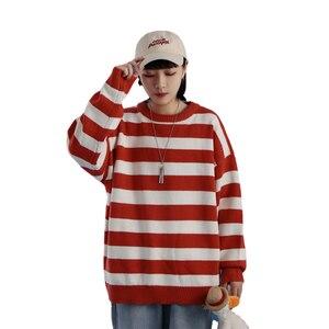 Модный вязаный свитер в зеленую и черную полоску, мужской и женский осенне-зимний Повседневный трендовый пуловер с круглым вырезом, одежда
