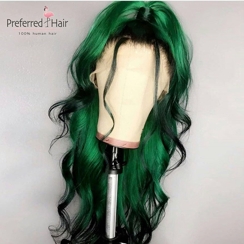 Preferred 613 Wig Green Color With Black Roots 13x6 Ombre Human Hair Wig Glueless Remy Brazilian Lace Front Wigs For Black Women