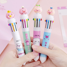 1pcs girl heart cute powder pig 10 color press ballpoint pen student creative hand account marker pen multi-function color pen japanese pilot lkfb 80ef multi function four color red blue black and green erasable pen gel pen multi function pen 1pcs lot