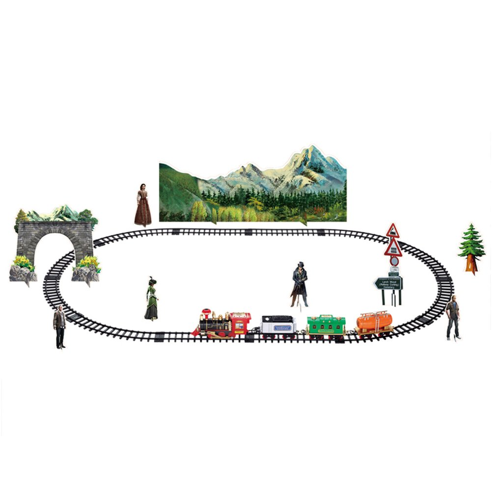 Electric Dynamic Steam RC Track Train Set Simulation Model Toy For Children Rechargeable Children Remote Control Classic Toy Set