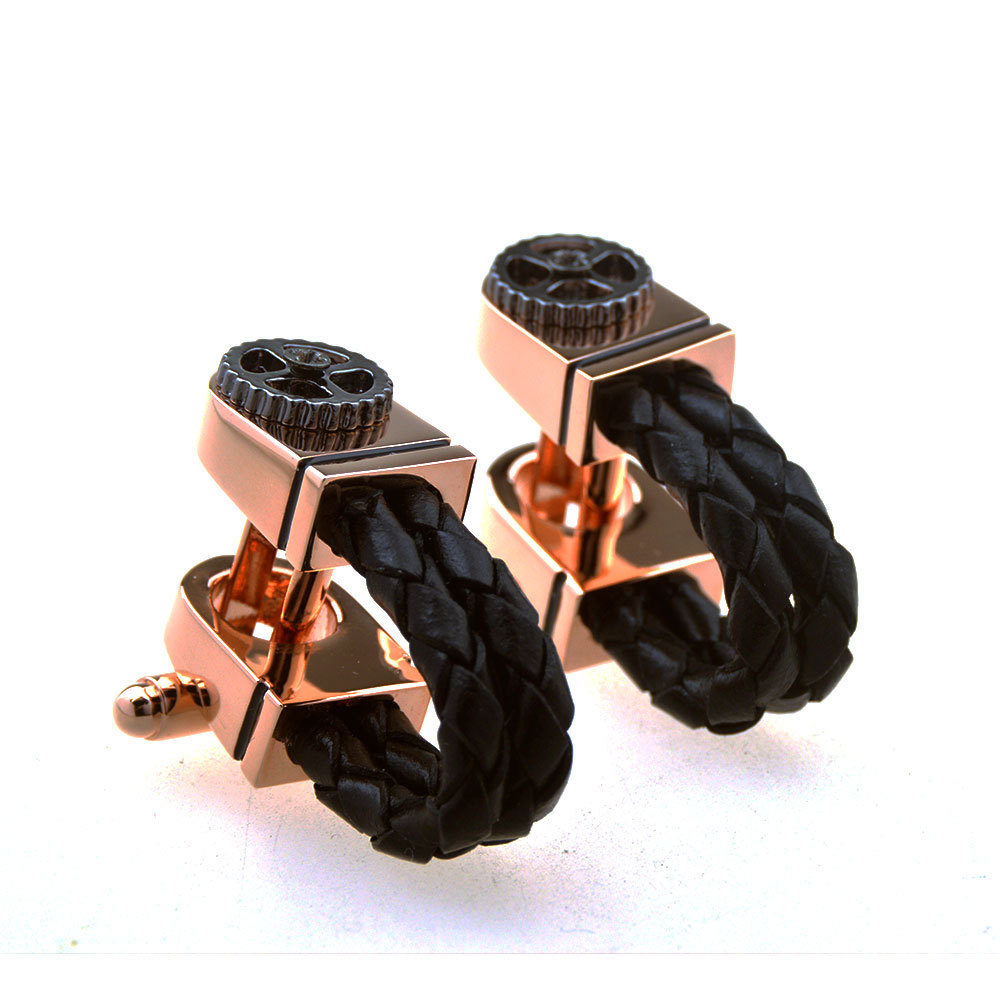 Rose Gold Gear Cufflinks High grade Fashion Men's Unisex Suit Shirt Accessories Classic French Leather Rope Cuff Links Gifts|Tie Clips & Cufflinks| |  - title=