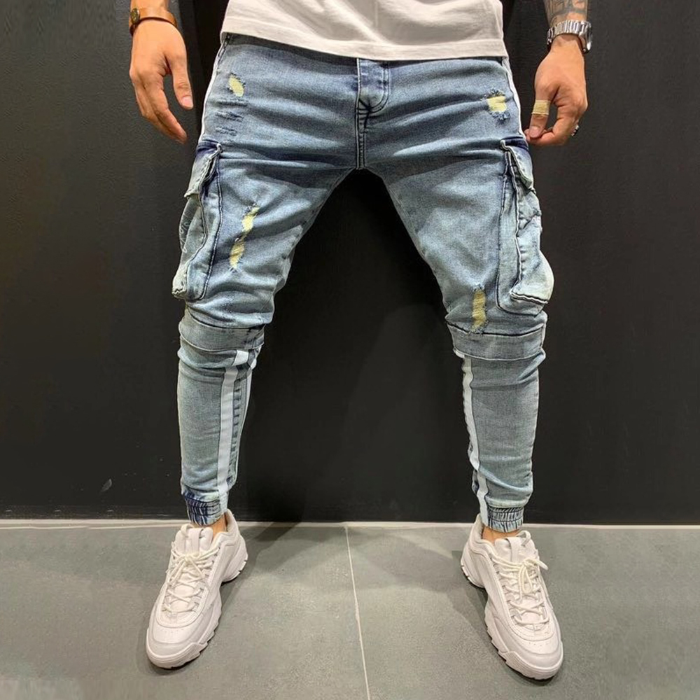 Vintage Mens Jeans Big Pockets Ripped Harem Pants For Men Streetwear Side Stripe Stylish Male Hole Denim Trouser Jean Homme D25