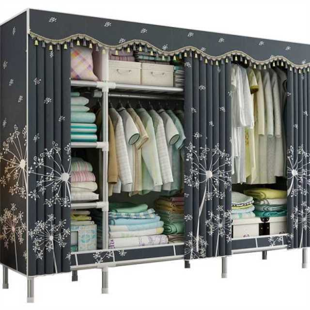 Cloth Wardrobe Steel Pipe Bold Reinforcement Double Assembly Simple Economical Simple Wardrobe Storage Cabinet