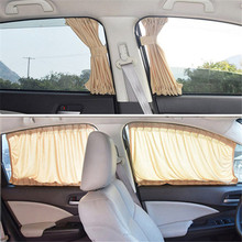 Car Window Aluminum Shrinkable Windowshade Curtain Car Side Window Sunshades UV Protection 50S/L Auto Rear Windshield Sun Block 2pcs car window sunshade aluminum shrinkable curtain car side window uv protection 50s l auto rear windshield sun block