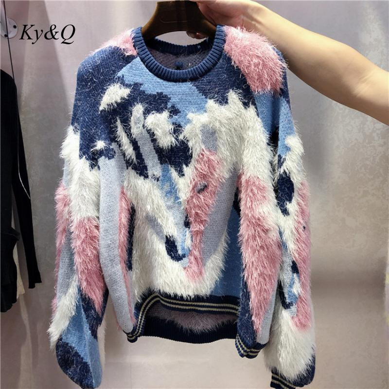 High Quality Women Winter Mohair Pullover Color Matching Luxury Sweet  Fleece Sweater Warm Knitted Jumper Clothes 2019 Tide