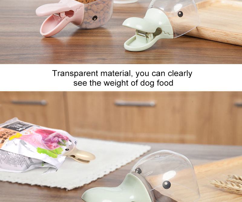 Cute Pet Food Spoon Measuring Cup Multifunction Food Bag Sealing Clip Pet Cat Dog Food Snack Feeding Cup Scoop Water Bowl