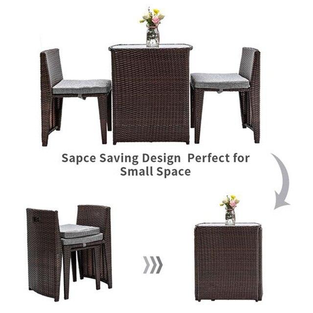 3PCS Rattan Wicker Bistro Set w/ Glass Top Table 4
