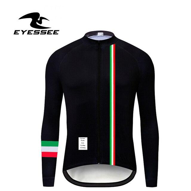 Italien radfahren jersey EYESSEE Männer fit leichte stoff Langarm Radfahren Trikots 5 farben Rennrad MTB rennen fahrrad kleidung