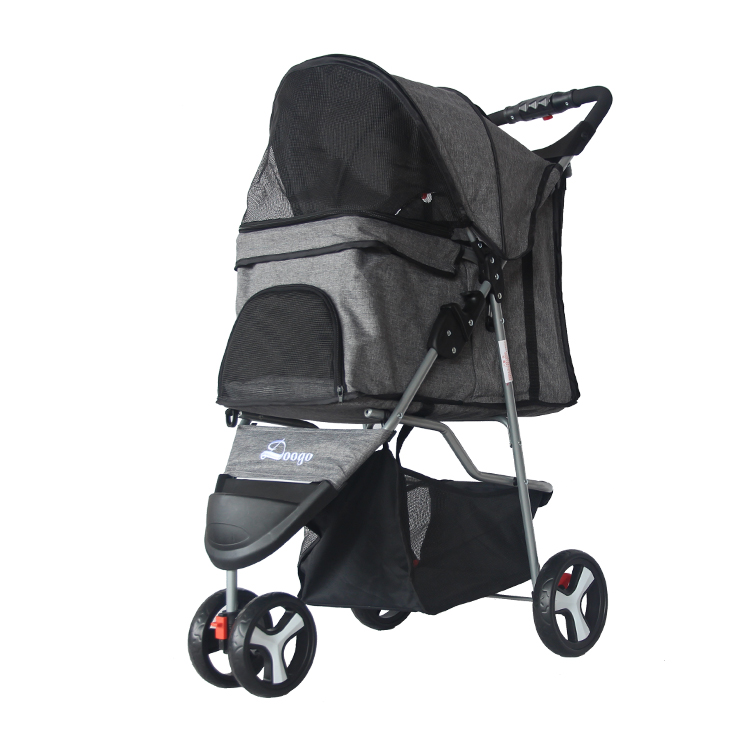 Pet Stroller Teddy Puppy Dog Out Trolley Small Cat Collapsible  Car Light  Artifact Outgoing  Kennel  Carrier