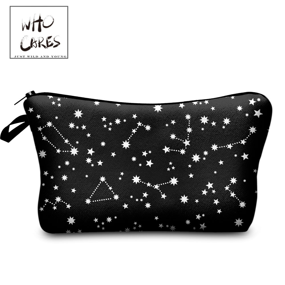 Who Cares Cosmetic Bag For Women Cosmetic Case Waterproof Travel Bag Black Starry Sky 3D Printing Polyester Fashion Makeup Bag