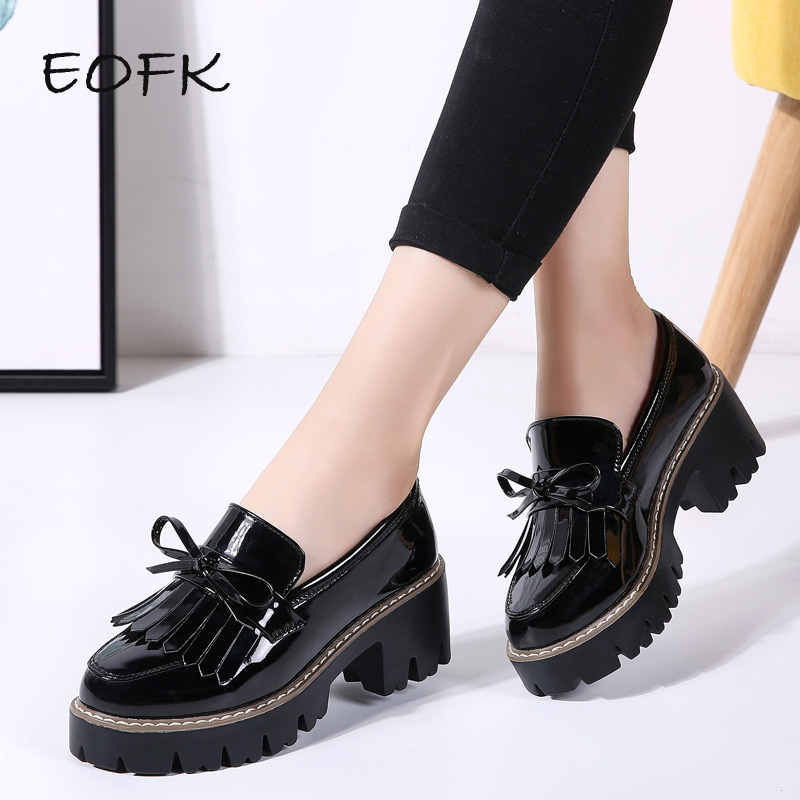 EOFK Women Flats Shoes Woman Black Patent Leather Slip on Bow-knot Casual Loafers Women's Low Bow Flat Platform Shoes Round Toe
