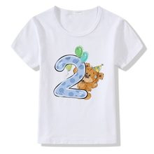Baby Boys Girls Birthday T-shirts Kids Summer Tees White Tshirts Children Cotton Tops Customized Cartoon Bear 1 2 3 4 5 6 7 8 9(China)