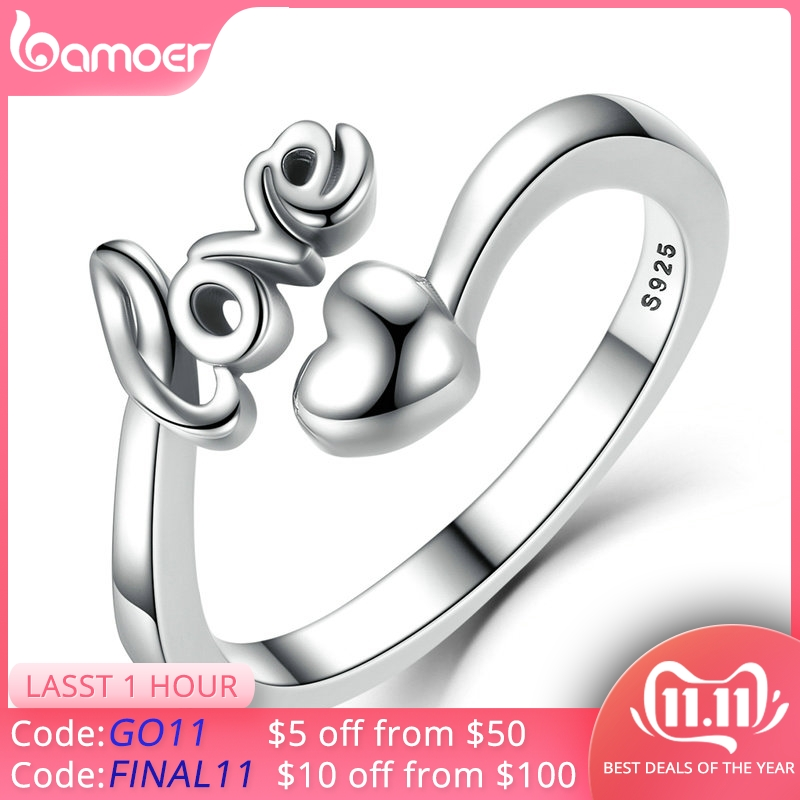 BAMOER New Arrival 100% 925 Sterling Silver I Love You Heart Ring For Woman Wedding Engagement Jewelry SCR024
