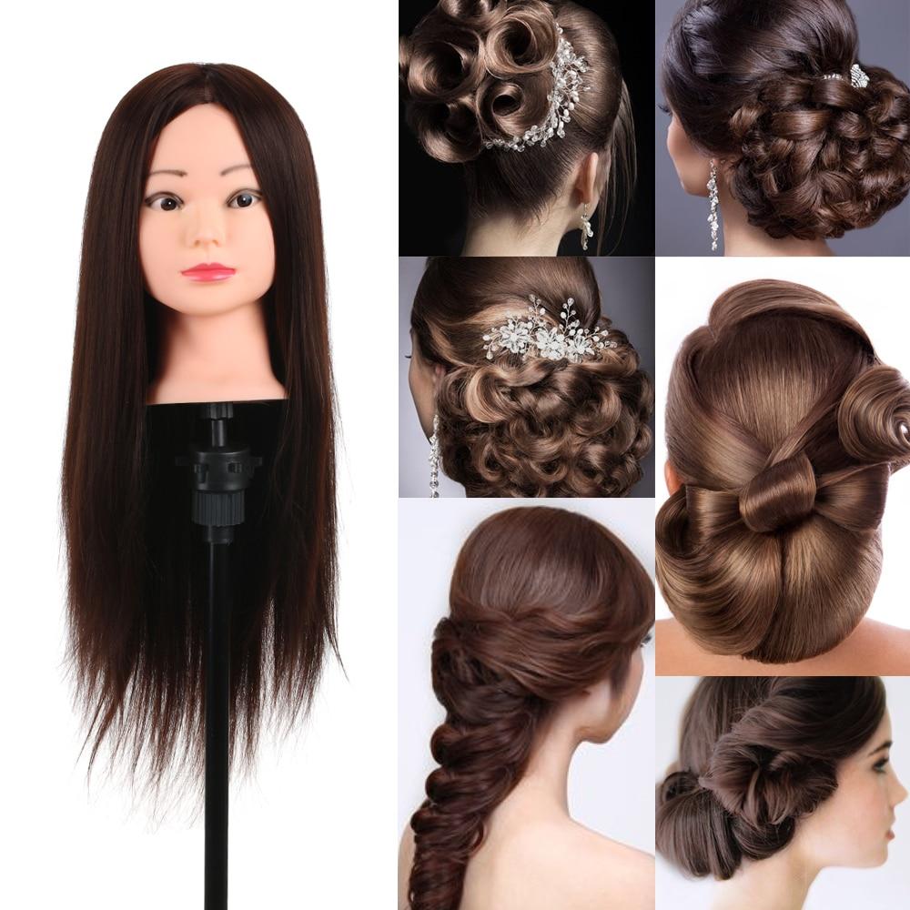 Training Head 80% Real Human Hair Manikin Head Hairdressing Dummy Head Salon Head + Hair Clamp Holder For Hair Practice
