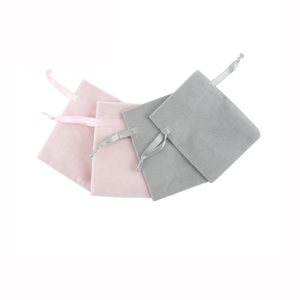 Image 3 - 50pcs Jewelry velvet Ribbon Drawstring Bag 8x10cm Personalized Packaging Chic Grey Pink Velvet Pouch for Wedding Favor Gift Bags