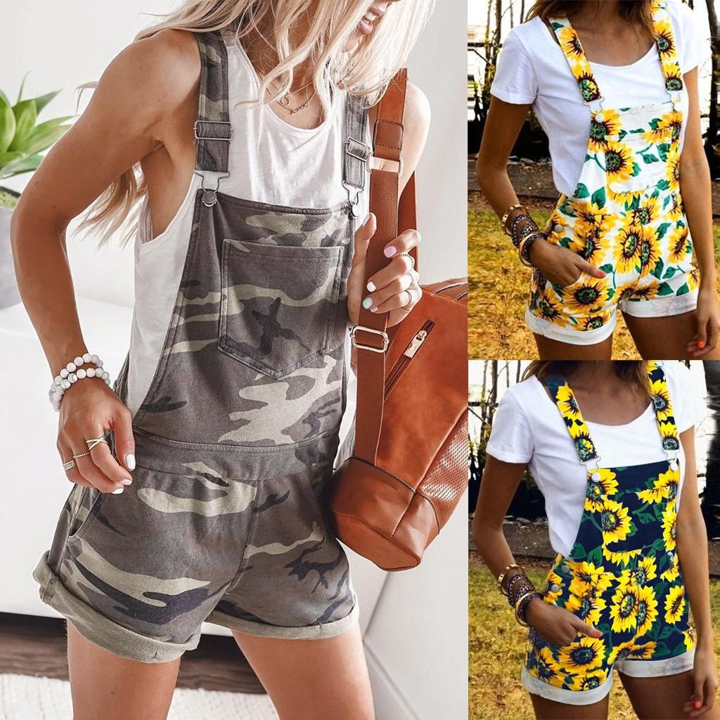 30h Women Jump Suit Short Pajamas Set Jumpsuit Pocket Overalls One Piece Playsuit Camouflage Sunflower Print Oversized Bodysuit