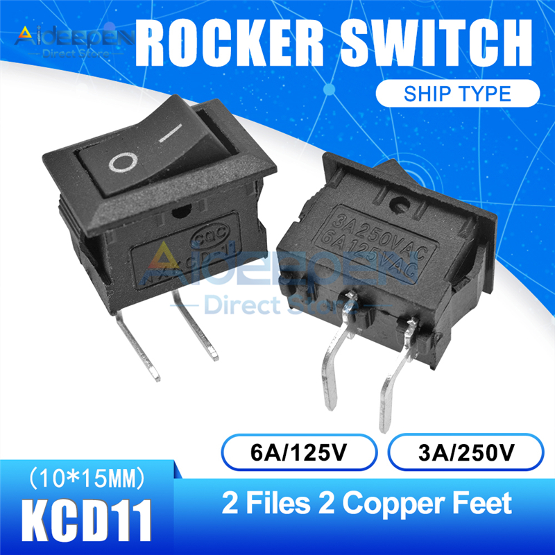 KCD11 10x15 мм кнопочный переключатель оснастка ВКЛ-ВЫКЛ 2 файла 3 файла 2/3 медные ножки лодка кулисный переключатель 10 мм* 15 мм 6A/125 В 3A/250 В - Цвет: Black 2-2P Curved