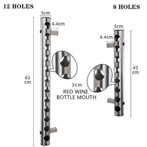 Image 3 - クリエイティブハンギング 8 12 ボトルワインラックステンレス鋼壁は赤ワインホルダー装飾ディスプレイ垂直金属ワイン棚