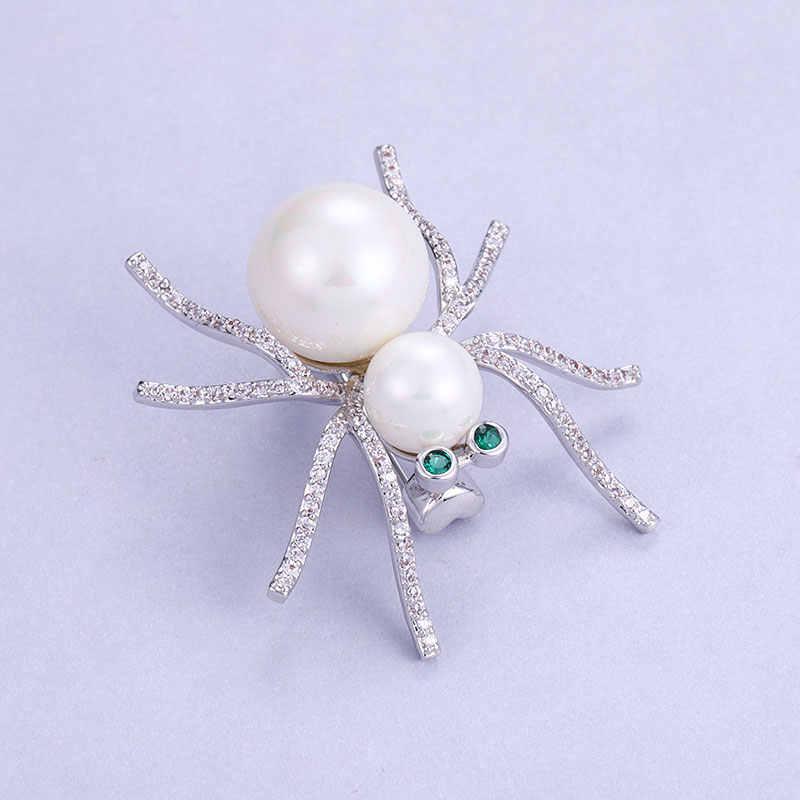 Vintage Pearl Spider Bros untuk Wanita Mewah Zirconia Serangga Hewan Bros Pin Wanita Sesuai dengan Selendang Aksesoris Hadiah Lucu