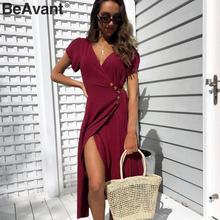 BeAvant seksi v boyun bir çizgi katı kadınlar elbise Casual düğme şal bahar yaz elbisesi zarif bayanlar pamuk slim fit bodycon elbise