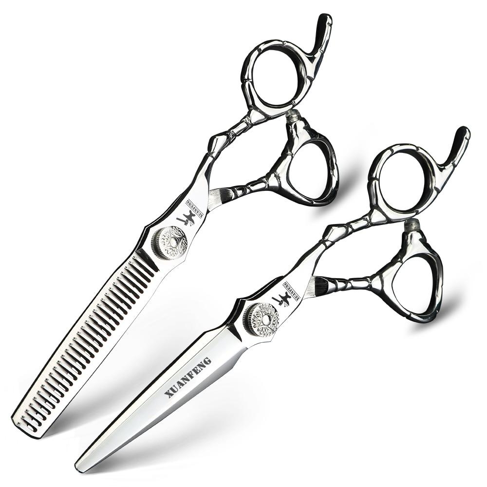 High quality Japanese 440C hair scissors Cutting and thinning scissors Barber Professional scissors