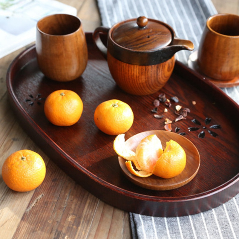 Wood Tea Plates Oval Dinner Plate Fruit Dishes Dim Sum Food Dinner Launch Candy Coffee Tray Tea Serving Trays|Dishes & Plates| |  - title=