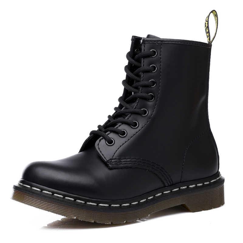 Doc femme bottes plate-forme Martins chaussures femme cuir laine hiver chaud bottes d'hiver femmes grande taille femmes chaussures 2019 Designers