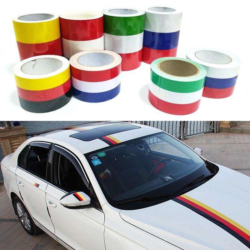 100cm Russia German France Belgium Italy Flag Stripe Decal Bumper Car Body Stickers For Honda BMW Toyota KIA Lada Toyota etc.