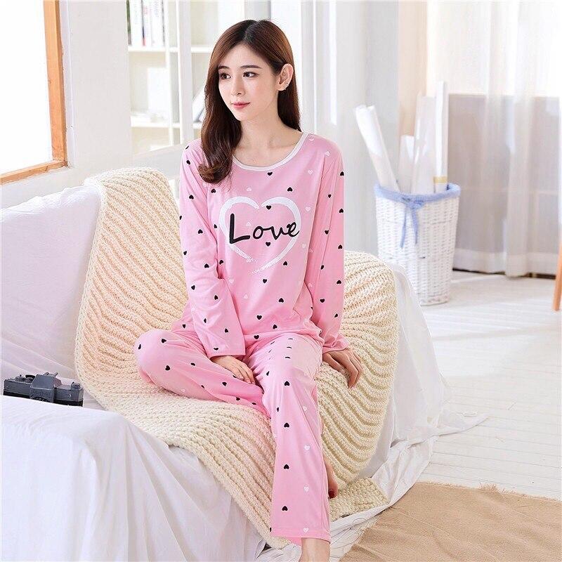 Pajamas Female Summer Spring And Autumn Sweet Printed Thin Pullover Pajamas Pink Peach Heart LOVE Long Sleeve Homewear Set