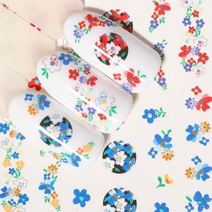 Image 3 - 1 лист наклейки для ногтей водяные цветы серии Маргаритка Лаванда наклейки для ногтей животные серии океан кошка растение переводная наклейка