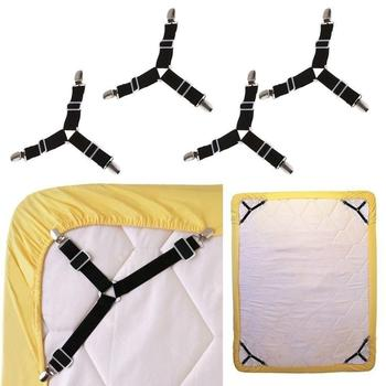 4Pcs Elastic Bed Sheet Grippers Clip Mattress Cover Blankets Holder Fasteners Slip-Resistant Belt Clips Home Textiles Gadgets - discount item  40% OFF Home Storage & Organization