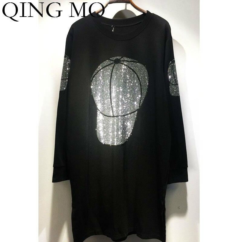 QING MO Cat Print Women Dress With Rhinestone Women Autumn Casual Style Dress O Neck Full Sleeve Dress 2019 ZQY1549