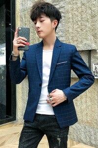 Image 4 - New Slim Fit Casual jacket Men Blazer Jacket Single Button Mens Suit Jacket Autumn plaid Coat Male Suite M 3XL drop shipping