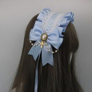 Image 2 - Japonês macio irmã lolita laço headdress doce selvagem kc faixa de cabelo grampo lateral acessórios para o cabelo handwork headdress