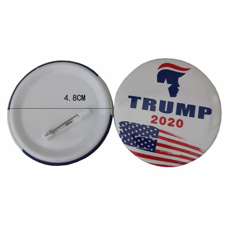 Donald Trump 2020 Badge Star บัตรเข้าชมโป๊กเกอร์เย็นเข็มกลัดเสื้อแจ็คเก็ตกระเป๋าเป้สะพายหลัง Lapel Pins ภาพยนตร์แฟนของขวัญ