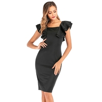 Women Layered Ruffle Bodycon Dress 2019 Autumn Winter New Square Collar Black Solid Ruffled Sleeve Office Dresses Plus Size 2XL