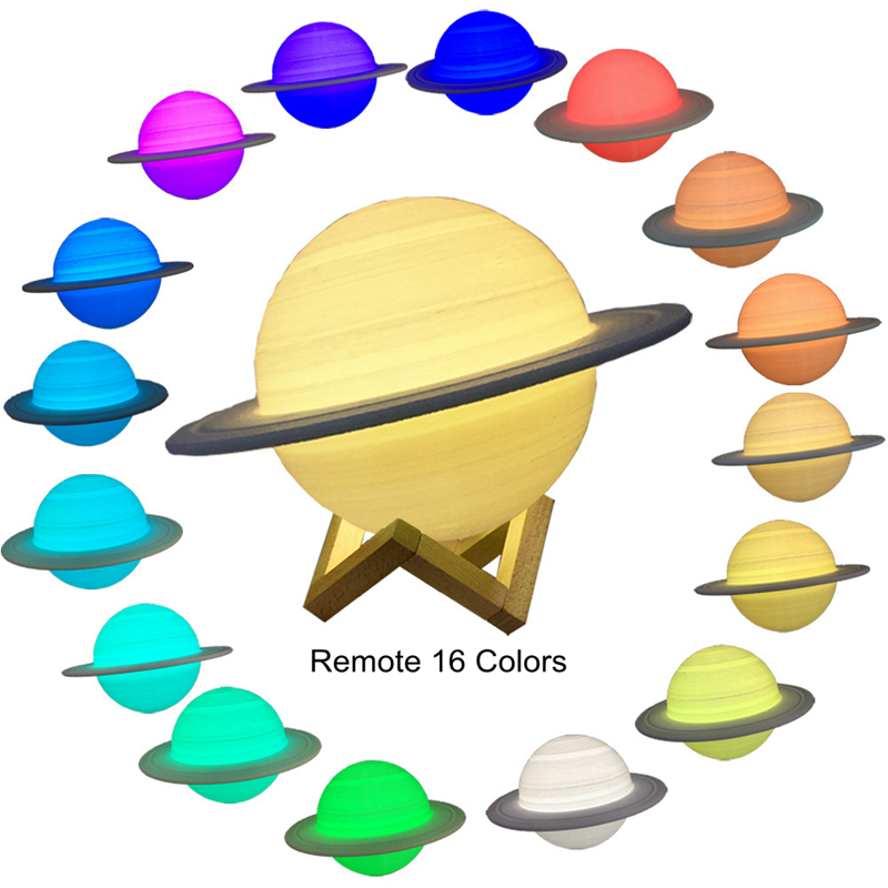New Rechargeable 3D Print Saturn Lamp Like Moon Lamp Night Light For Moon Light With 3Colors 16Colors Remote Decor Creative Gift