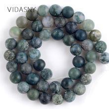 Natural Gem Stone Dull Polished Moss Agates Onyx Beads For Jewelry Making 4 6 8 10 12mm Spacer Beads Diy Bracelet Necklace 15'' блесна yoshi onyx yalu gem цвет синий розовый 10 г