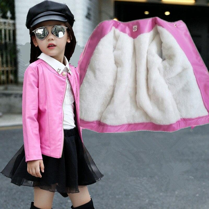 Hot Sale Girls Leather Jacket Autumn Winter Pink Thicken Children's Plus Velvet Warm  Zipper Cotton Outwear Coat For 3-12Years