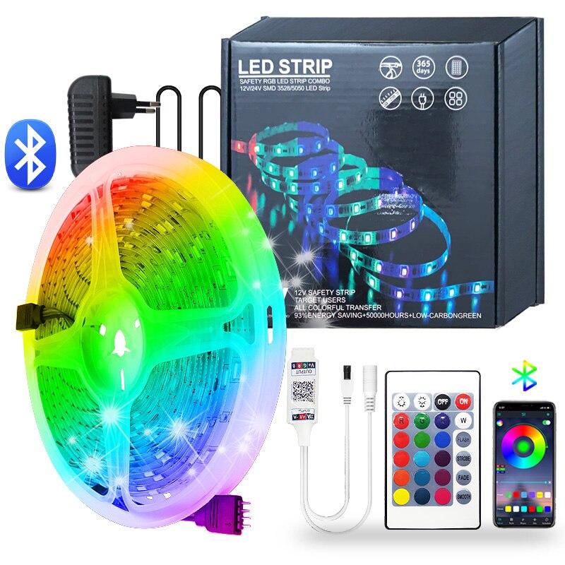 Tira de luces LED de 5M, 10M, 15M, SMD 5050 RGB, 2835 luces LED rgb, cinta de diodos, cinta Flexible con Bluetooth, Control DC 12V, Juego de adaptadores Controlador LED RGB para hogar mágico, controlador LED de cc 12V y 24V para tira de LED RGB de 5050, aplicación para teléfono iOS y Android, Control por voz de Alexa y Google