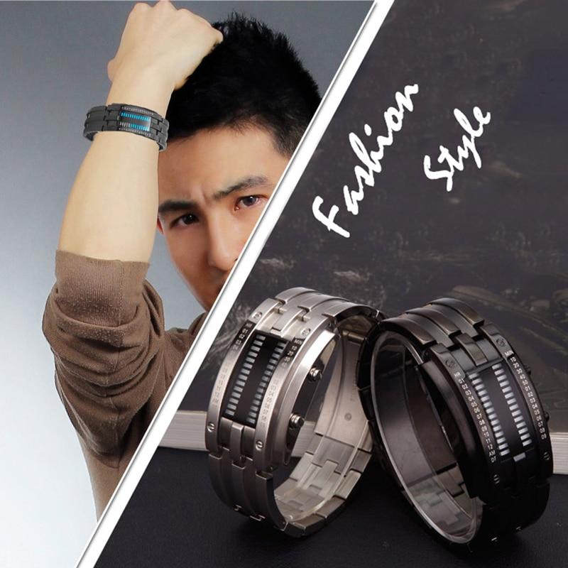 Binary LED Digital Wrist Band Matching Watch for Couple Fashion Creative FOU99