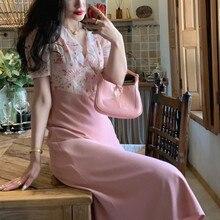 Letnie kwiatowe falbany z nadrukiem szyfonowe sukienki damskie Patchwork z krótkim rękawem różowe francuskie eleganckie sukienki Midi Party Sukienka 2021