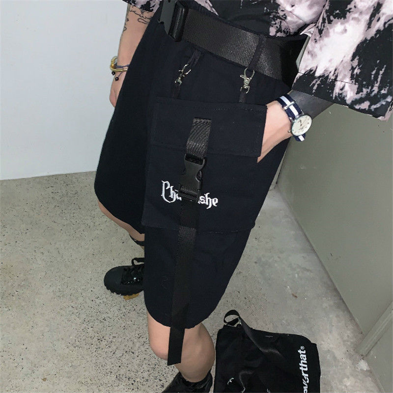 Women Fashion Shorts Summer High Waist Loose Casual Wide Leg Shorts Embroidered Letters Five Points Shorts Russian Hot Selling