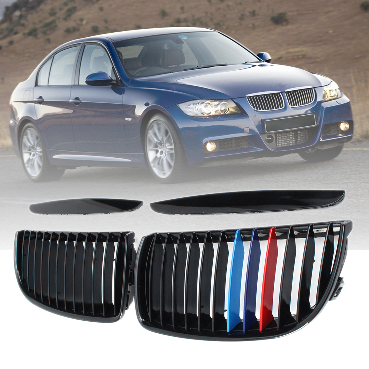 Para bmw e90 e91 4 portas 2005 2006-2008 4 par de cores frente gloss fosco carbono m cor preto 2 linha dupla slat rim grille grill