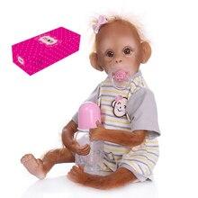 Realistic Baby Monkey Doll 16 inch 40 cm Lifelike Reborn Baby Monkey Handmade Detailed Painting Art Dolls with Stripe T-shirt